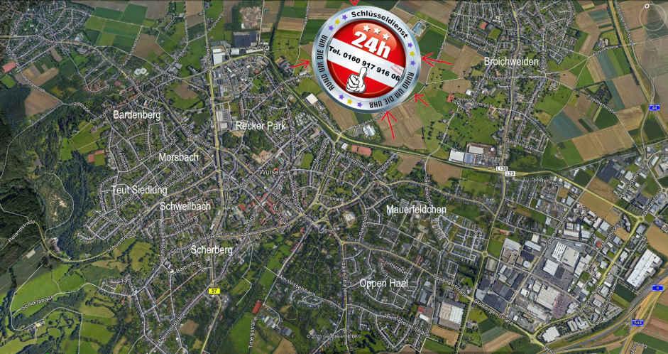 Karte des Einzugs Gebietes Notdienst Tag und Nacht überall !